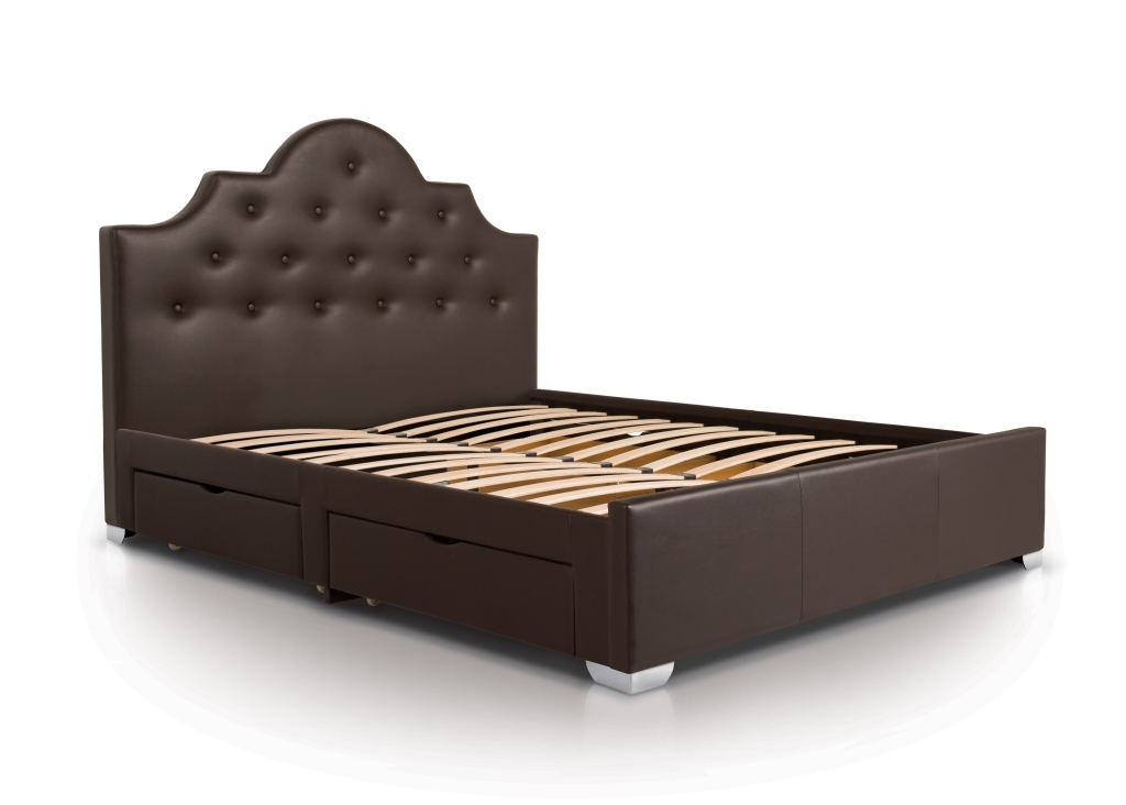 Image of Four Drawer Bed| Double| Brown| Traditional Style