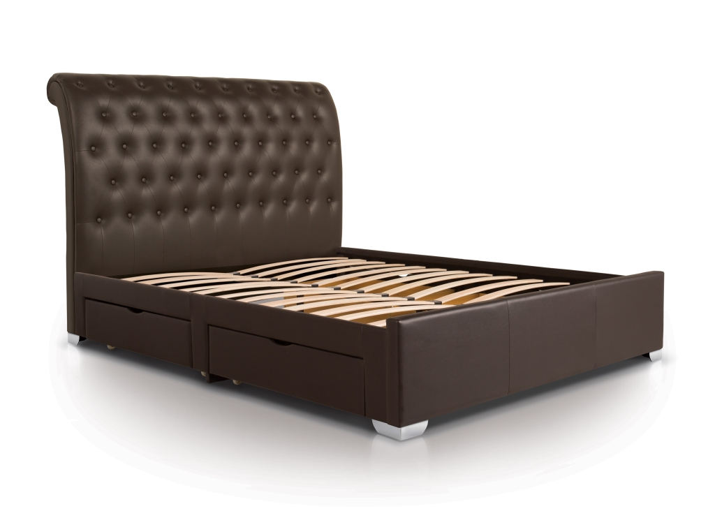 Image of Four Drawer Bed| Double| Brown| Contemporary Style